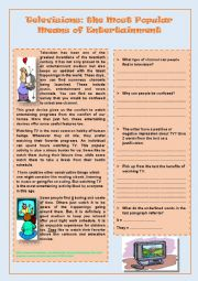 English Worksheet: Televisions: the Most Popular Means of Entertainment