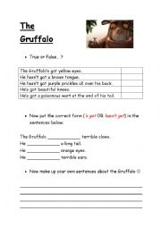 English Worksheet: Gruffalo has/hasn�t got