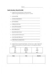 English Worksheet: Sentence Structure and Parts of Speech