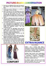 Picture-based conversation : topic 73 - extravagance vs comfort.
