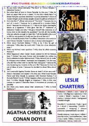 English Worksheet: Picture-based conversation : topic 74 - Agatha Christie & Conan Doyle vs Leslie Charteris