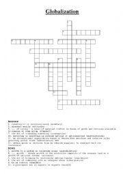 English Worksheet: Globalization Crossword Vocabulary task