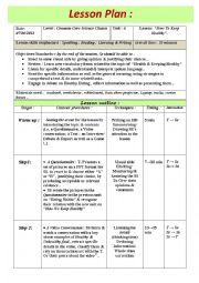 English Worksheet: Lesson Plan For A Model Lesson