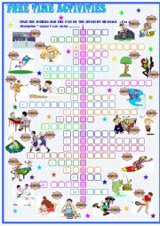 English Worksheet: Free  time activities: crossword puzzle