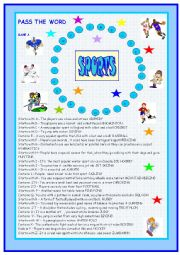 English Worksheet: Sports: Pass the word