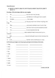 English Worksheet: obligation& irregular verbs quiz