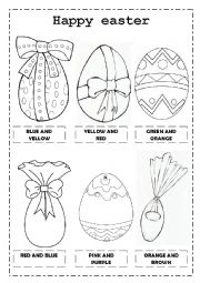 English Worksheet: Easter eggs and colors