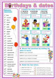 English Worksheet: BIRTHDAYS & DATES