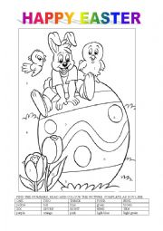 English Worksheet: happy easter colouring activity 3