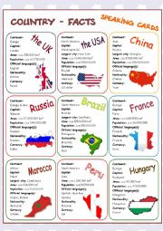 English Worksheet: Country-Facts Speaking Cards 1/3