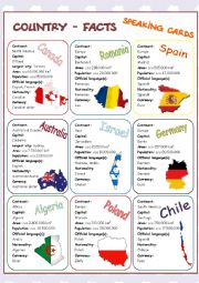English Worksheet: Country-Facts Speaking Cards 2/3