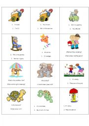 English Worksheet: question answer game cards set 2