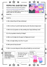 Printables Babysitting Worksheets english worksheets peppa pig babysitting worksheet babysitting