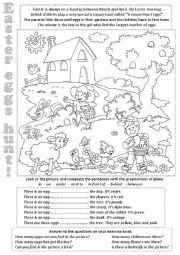 English Worksheet: Easter eggs hunt