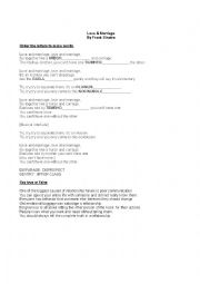 English Worksheet: Love and marriage speaking