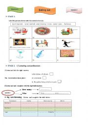 English Worksheet: Listening about eating out and ordering food at a restaurant
