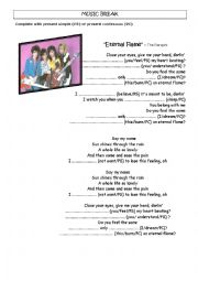 English Worksheet: Song: present simple and continuous