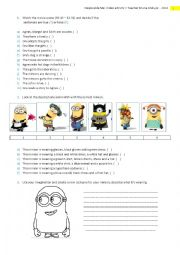 Despicable Me - Comprehension and CLOTHES for kids