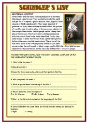 English Worksheet: Schindler�s list :part 1