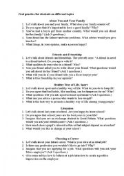English Worksheet: oral practice