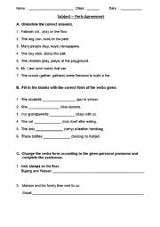 English Worksheet: Subject - Verb Agreement