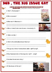 English Worksheet: A street cat named Bob : video watching