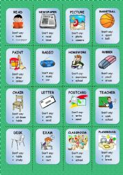 English Worksheet: TABOO CARDS (3/3)