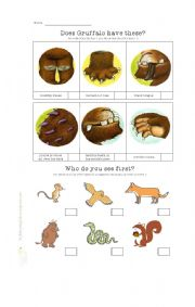English Worksheet: Gruffalo Movie Worksheet