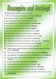 English Worksheet: CONCESSION AND CONTRAST : LINKING WORDS