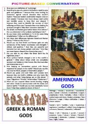 Picture-based conversation : topic 62 - Greek & Roman gods vs Ameridian ones