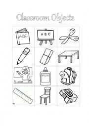english worksheet classroom object to coloring and cut