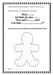 English Worksheet: THE GINGERBREAD MAN RIDDLE