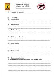 English Worksheet: BOWLING FOR COLUMBINE WORKSHEET