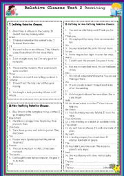 English Worksheet:  Relative Clauses  Rewriting Test 2