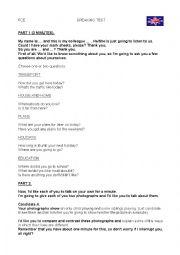English Worksheet: FIRST CERTIFICATE EXAM SPEAKING TEST PART 1
