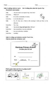 English Worksheet: Reading Comprehension (Sports Day Invitation Card)