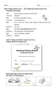 english worksheets reading comprehension sports day invitation card. Black Bedroom Furniture Sets. Home Design Ideas