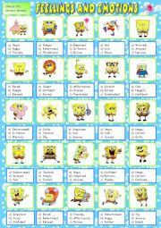 feelings and emotions activity 2
