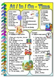 English worksheet: At/In/On-Time