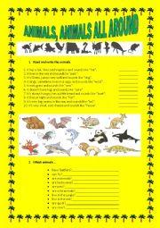English Worksheet: Animals, animals all around