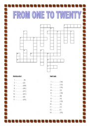 FROM 1 to 20 - crosswords