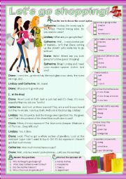 English Worksheet: LET�S GO SHOPPING! - Reading
