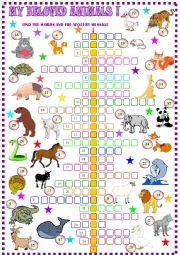 English Worksheet: Animals : crossword puzzle
