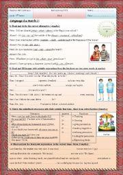 English Worksheet: mid term test n°3 7th form