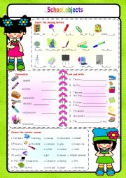 English Worksheet: School Objects