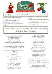 English Worksheet: Beauty and the beast - Enchanted Christmas - Part 1
