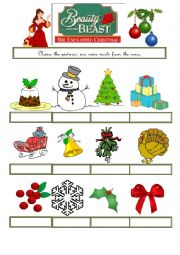 English Worksheet: Beauty and the beast - Enchanted Christmas - Part 2