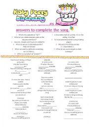 English Worksheet: Katy Perry - Birthday - Song activity