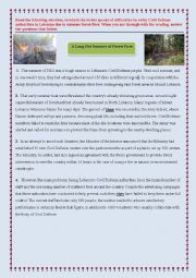 English Worksheet: 6th form Exam (forest fires)