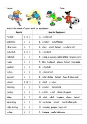 Sports Names and Equipment